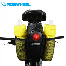 ROSWHEEL Bicycle Saddle Bag 2 Water Bottle Pouch Waterproof MTB Bike Rear Bags Seatpost LED Tail Light Cycling Tail Bag