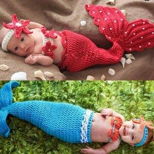 Реквизит для фотосессии для новорожденных, Костюм Русалки с жемчужинами для маленьких девочек, вязаная одежда для фотосессии