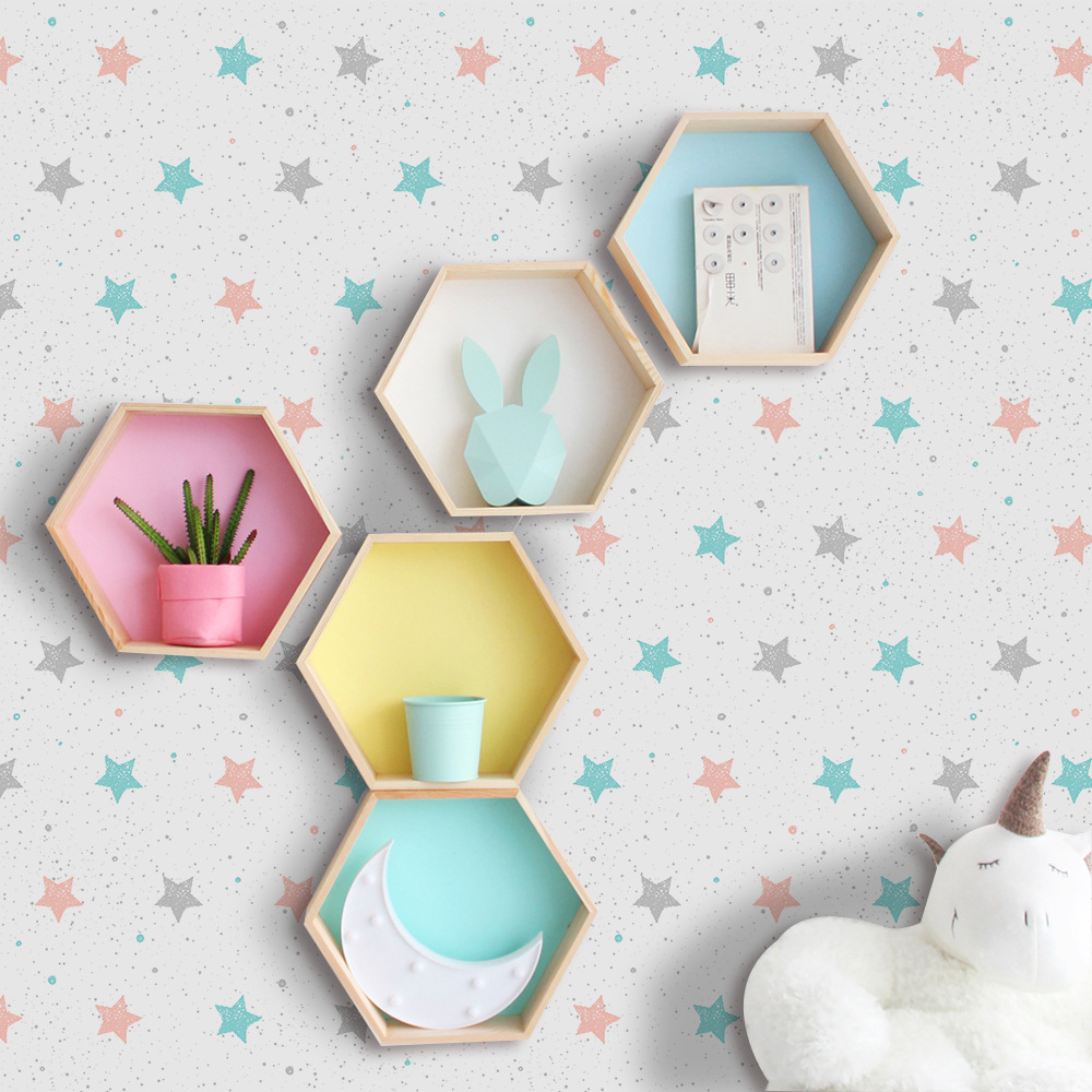 Fashion PVC Self Adhesive Wallpaper for kids Room Print Pink Blue Star Waterproof Wall Sticker Home Decor Fashion PVC Self Adhesive Wallpaper for kids Room Print Pink Blue Star Waterproof Wall Sticker Home Decor