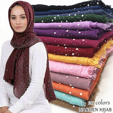20 Kleur Kerst Hijab Sjaal Sneeuw Dot Bead Decor Sjaal Populaire Sjaals Moslim Hijab Vintage Pashmina Muffler Foulard 10 Stks/partij