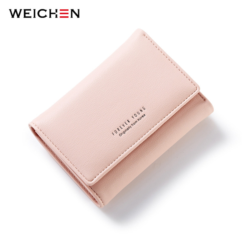 WEICHEN Simple Style PU Leather Hasp & Zipper Wallet For Women, Hot Lady Small Fashion Wallets Solid Coin Purse Clutch Carteras weichen new geometric envelope clutch wallet for women pu leather hasp fashion design wallet for phone money bags coin purse