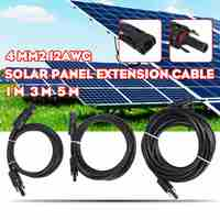 SWILET 1pcs 1/3/5m Solar Panel Extension Cable Copper Wire Black and Red with MC4 Connector Solar PV Cable