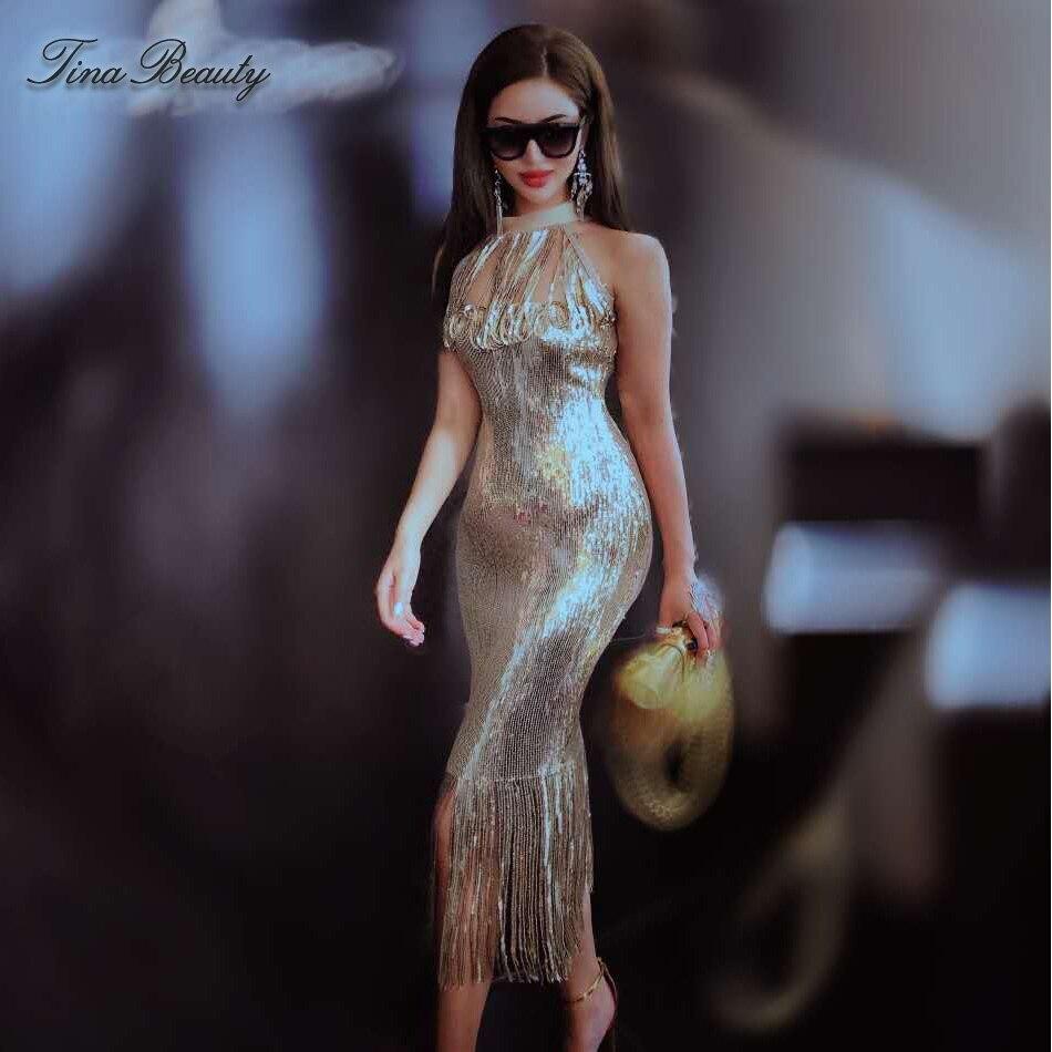 Tina Beauty Golden Sequin Tassel Party Long Sexy Dress Glitter Elegant Halter Women 39 s Vintage Dresses Formal For Prom Nightclub in Dresses from Women 39 s Clothing