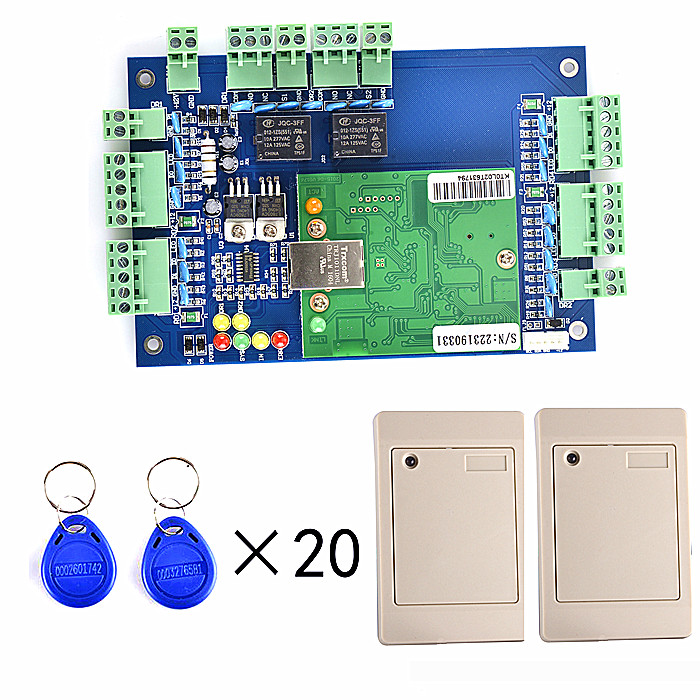 Free shipping+RFID Two Door Access Control Systems+TCP/IP+2 Pieces Reader+20pcs RFID Card+English Software outdoor mf 13 56mhz weigand 26 door access control rfid card reader with two led lights