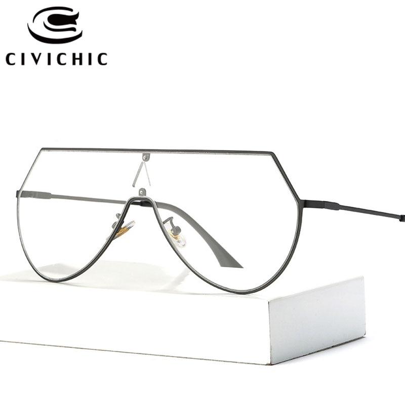 CIVICHIC Classic Plain Glasses Brand Designer Women Flat Eyewear Men Retro Oculos Clear Lens Siamese Optical Frame HD Specs E286