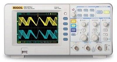Digital Rigol DS1072U Colorful 70MHZ 2Channels Oscilloscope Scopemeter 500MSa/s 512Kpts Memory Depth USB 5.6'' TFT LCD осциллограф siglent sds1102dl 100 2 7 32kpts 500msa s sds 1102dl