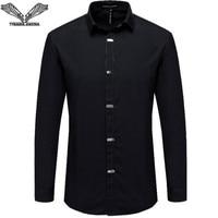 VISADA JAUNA heren Shirts 2017 Herfst Nieuwe Aankomst Britse Stijl Casual Lange Mouw Effen Mannelijke Business Slim Fit Shirt 4XL N511
