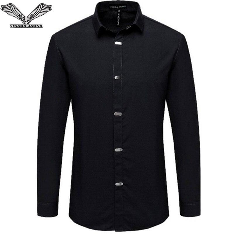 Visada jauna Для Мужчин's Рубашки для мальчиков осень 2017 г. Новое поступление британский стиль Повседневное с длинным рукавом Твердые мужской Бизнес рубашка узкого кроя 4xl n511
