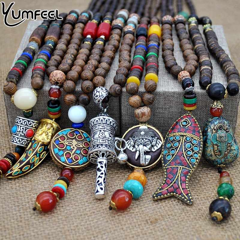 Yumfeel Handmade Nepal Jewelry Buddhist Mala Wood Beads Pendant Necklace Ethnic Horn Fish Long Statement Necklace For Women Men