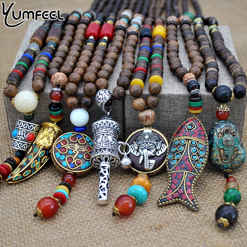 Yumfeel Handmade Nepal Jewelry Buddhist <font><b>Mala</b></font> <font><b>Wood</b></font> <font><b>Beads</b></font> Pendant Necklace Ethnic Horn Fish Long Statement Necklace For Women Men image