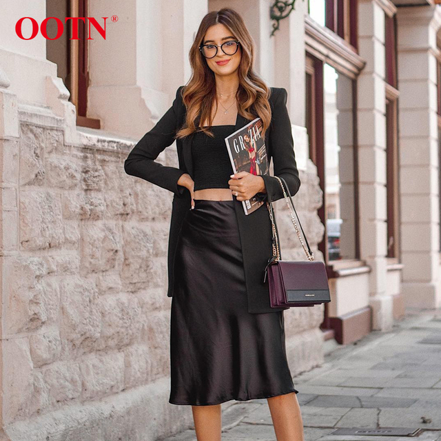 OOTN Casual Silk Black Skirt Women Summer Autumn Knee-Length Office Lady High Waist Elegant Satin Skirts Ladies 2019 Fashion 1
