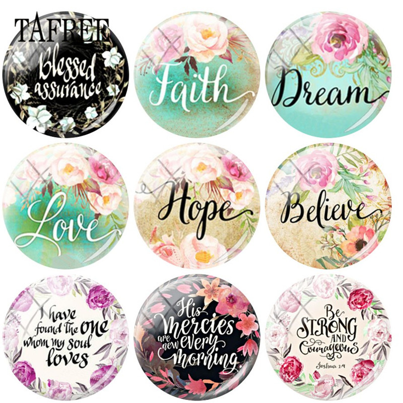 TAFREE Bible Verse Christian Faith/Love/Hope/Believe Quote 25mm Glass Cabochon Letter Dome DIY Jewelry Findings