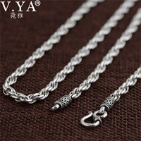 V YA Vintage 925 Sterling Silver Chain Necklaces For Men Male Jewelry 4mm Real Thai Silver
