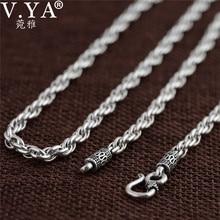 V.YA Vintage 925 Sterling Silver Chain naszyjniki dla mężczyzn biżuteria męska 4mm prawdziwe Thai srebrny naszyjnik doskonałe akcesoria do biżuterii