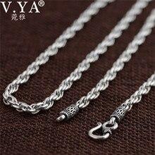 V.YA Vintage 925 ayar gümüş zincir kolye erkekler için erkek takı 4mm gerçek tay gümüş kolye güzel takı aksesuarları