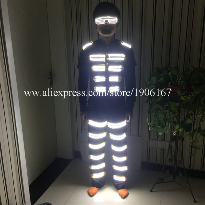 1716b85a ④Moda Kolorowe Led Light Robota Garnitur LED Świetlisty Ubrania ...