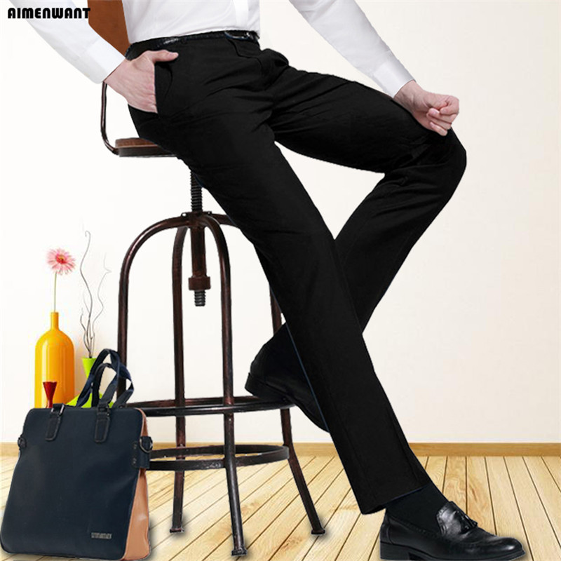 AIMENWANT business trousers 120cm length Slim Fit Straight Working Formal Suit pants uk for tall men custom made pants oversize-in Casual Pants from Men's Clothing    1