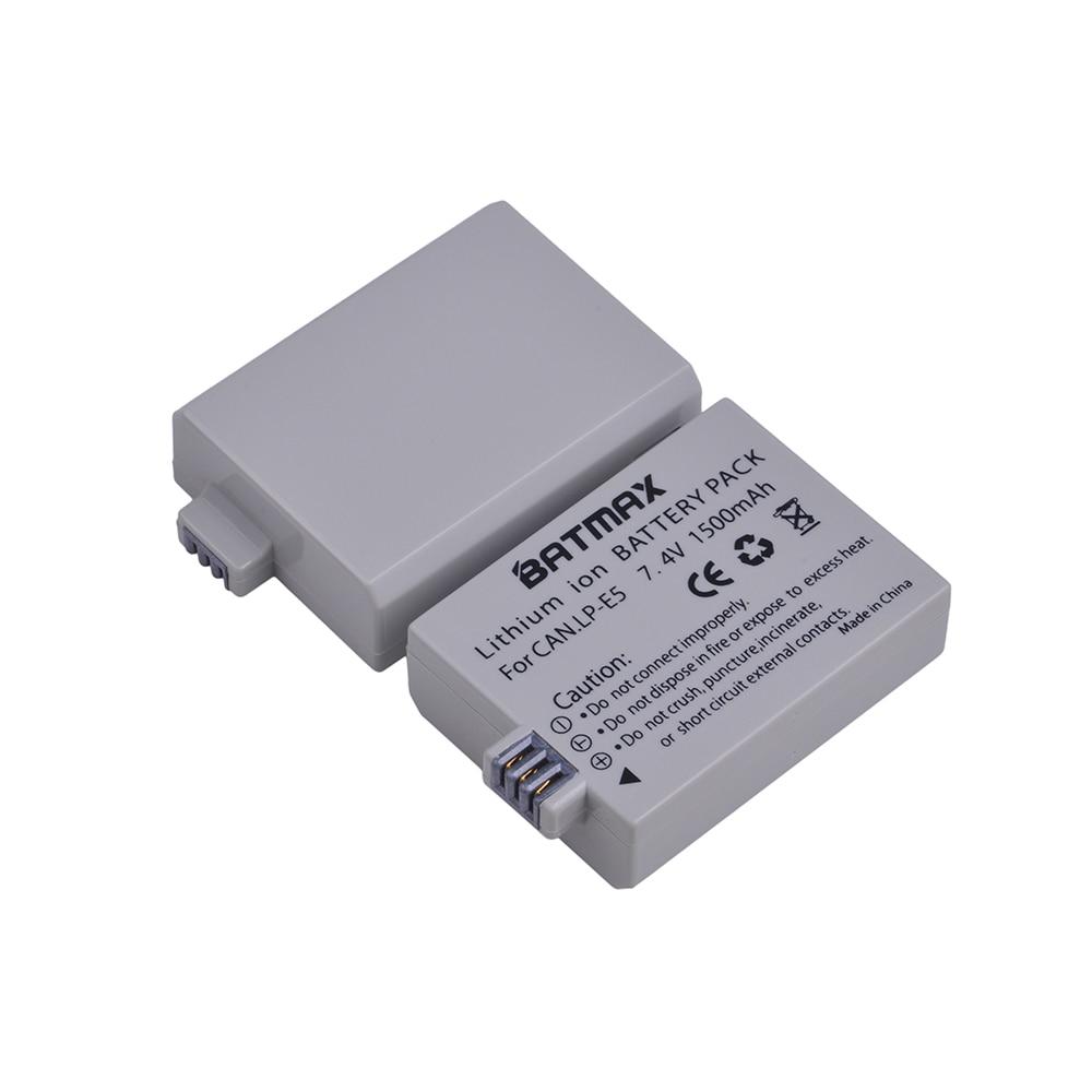 Batmax 1500mAh LP-E5 LPE5 LP E5 Batterij voor Canon EOS Rebel XS, Rebel T1i, Rebel XSi, 1000D, 500D, 450D, L10