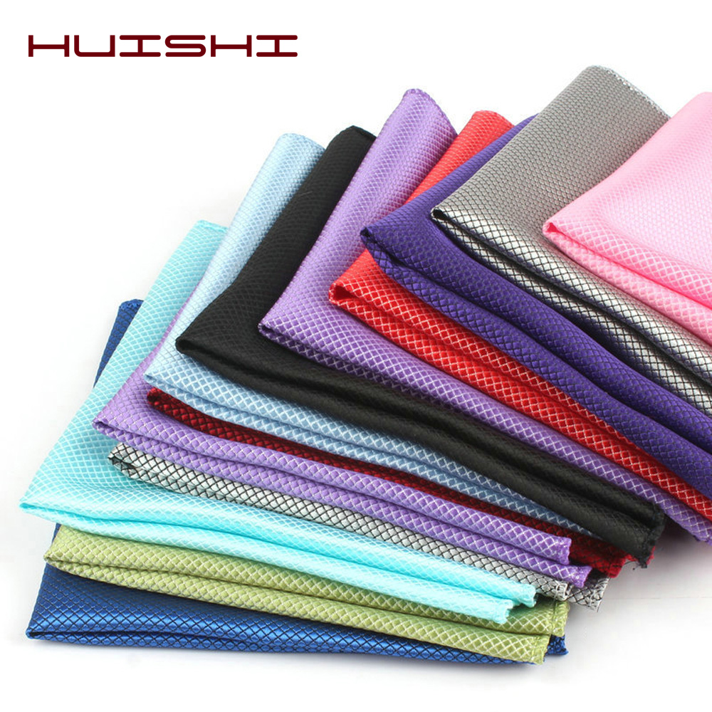 HUISHI Solid Pocket Square For Men Grid Check Handkerchief Accessories Polyester Hanky Solid Color Towel Mouchoir Black White