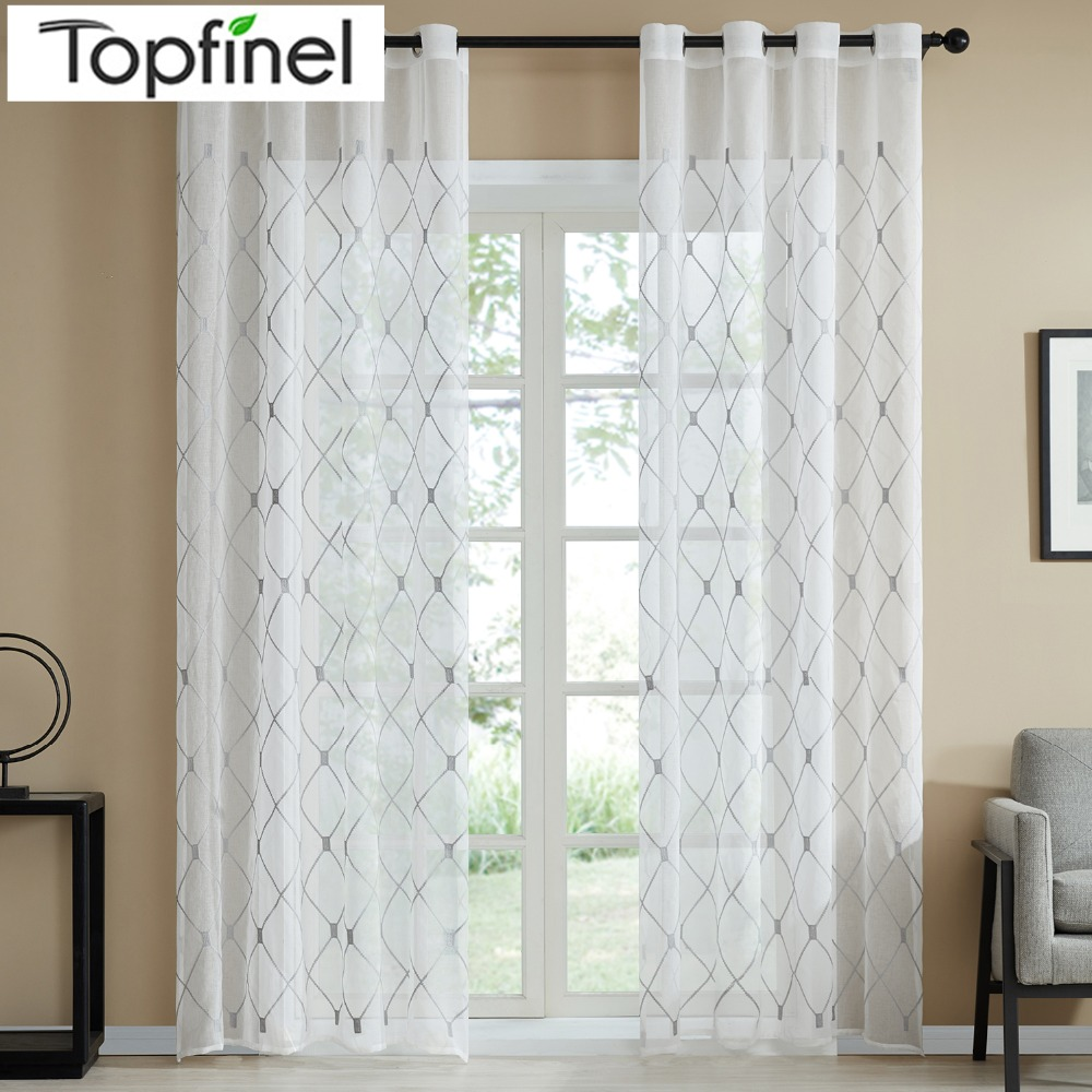 Topfinel Geometric Design Sheer Curtains Tulle Window Curtains For Kitchen Living Room Bedroom Tulle Voile Cafe Curtains White
