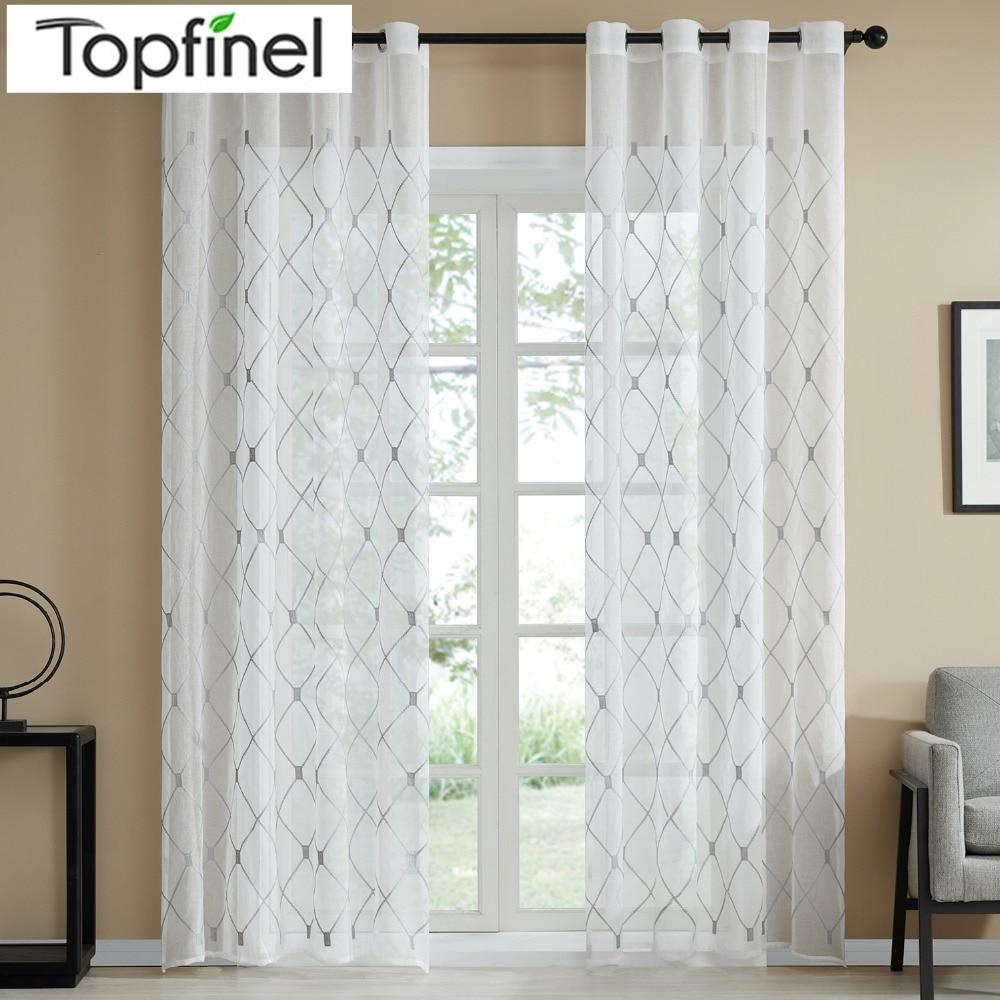 Topfinel Diseño geométrico Cortinas transparentes Cortinas de la ventana de tul para la cocina Sala de estar Dormitorio Tulle Voile Cafe Cortinas Blanco