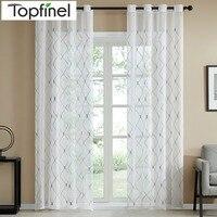 Topfinel, cortinas transparentes blancas de diseño geométrico, cortinas para sala de estar, cortinas de gasa de tul para dormitorio, cortinas con figuras de café, diamante