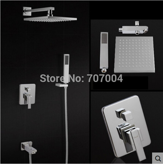 concealed install shower faucet mixer tap system wall mount bath shower with handshower chrome finish