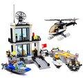 Delegacia de polícia building blocks define modelo 536 pcs helicóptero lancha educacional diy bricks brinquedos para crianças