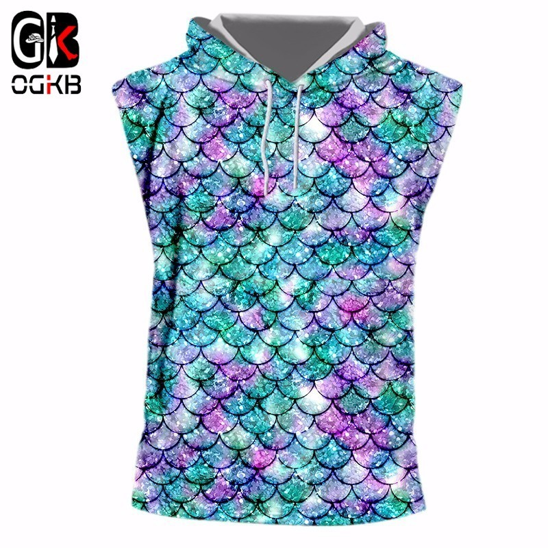 OGKB Hiphop Punk Bodybuilding Fitness Sleeveless Hoodies Women/men Funny Print Fish Scale 3D Tank Top With <font><b>Cap</b></font> <font><b>Sexy</b></font> Workout Vest image