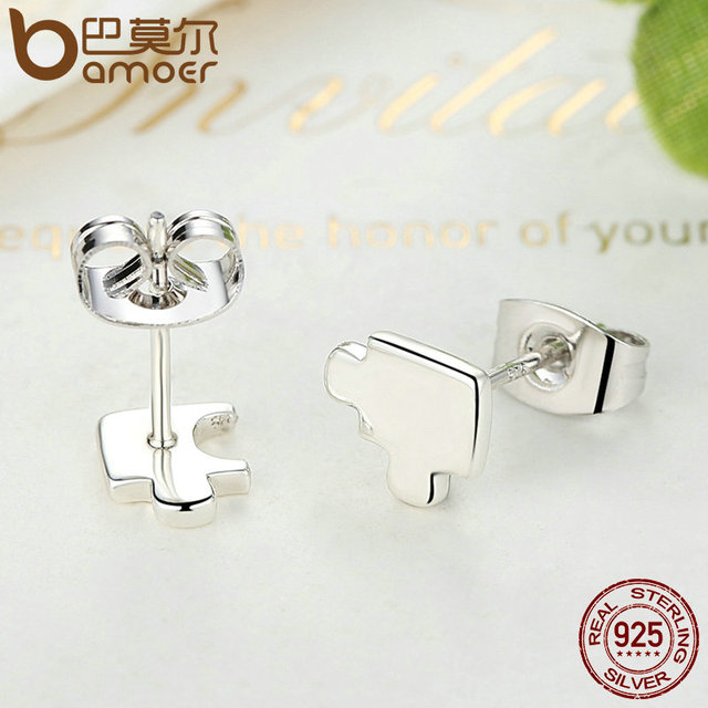 Sterling Silver Game Puzzle Stud Earrings