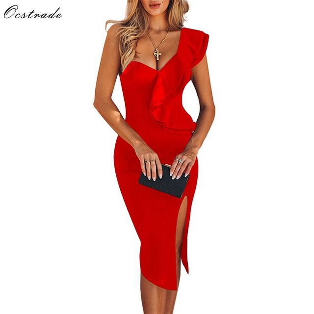 Ocstrade New Arrival 2020 Women One Shoulder Bandage Dress Elegant Ruffles Red Bandage Dress Bodycon Sexy Party Night Club Dress