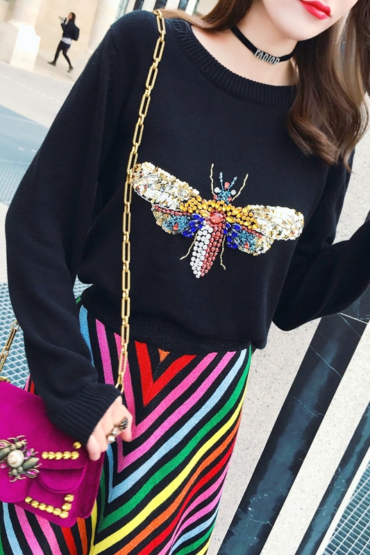 18 Luxury Brand Autumn Winter Black Sweaters and Pullovers Knitted Women Long Sleeve Dragonfly Diamond Jumper Tops Clothes 5