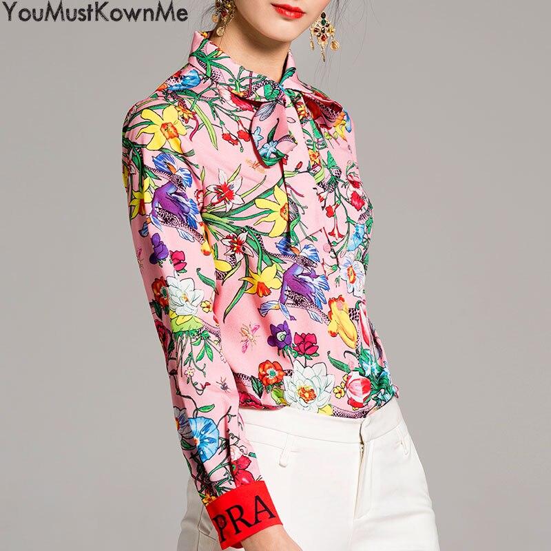 2019 femmes blouses à manches longues chemise serpent imprimer lettre fleur imprimé grande taille femmes blouses femmes mode piste rose chemises - 3