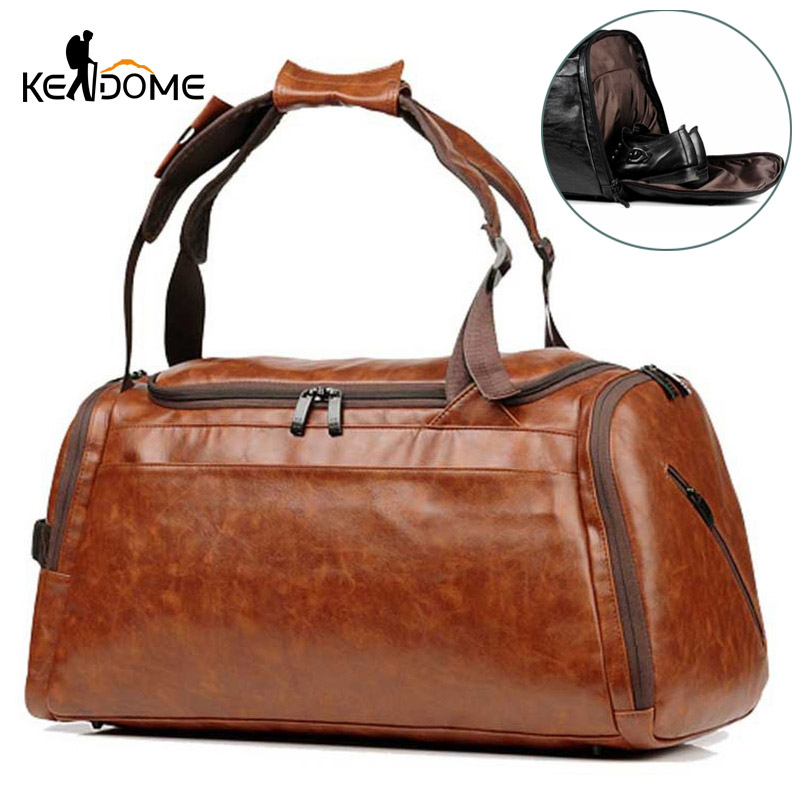 Mens Gym Bag With Compartment For Shoes Women PU Fitness Backpack Waterproof Leather Travel Duffle Outdoor