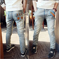 Primavera de roupas infantis e Outono médio-grande criança do sexo masculino de brim, crianças jeans rasgados + crianças calça jeans + meninos calças de brim