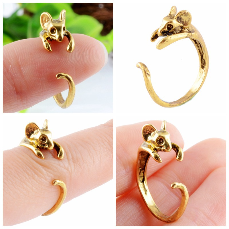 2016 New Trend Animal Rings For Women Jewelry Black Mouse Rings Open Adjustable Finger Rings Unique Animal Rings Black Friday
