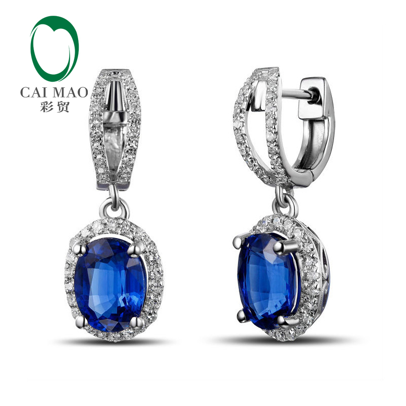 Caimao ювелирные изделия 2.88ct Синий Кианит 14k белое золото бриллиант висячие серьги левербэк