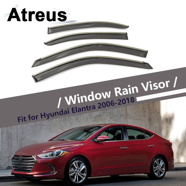 Atreus 4pcs For Hyundai Elantra 2006-2018 Car Accessories Door Smoke Window  Sun Rain Visor Wind Deflectors Guard Shield Cover 9200a57445c