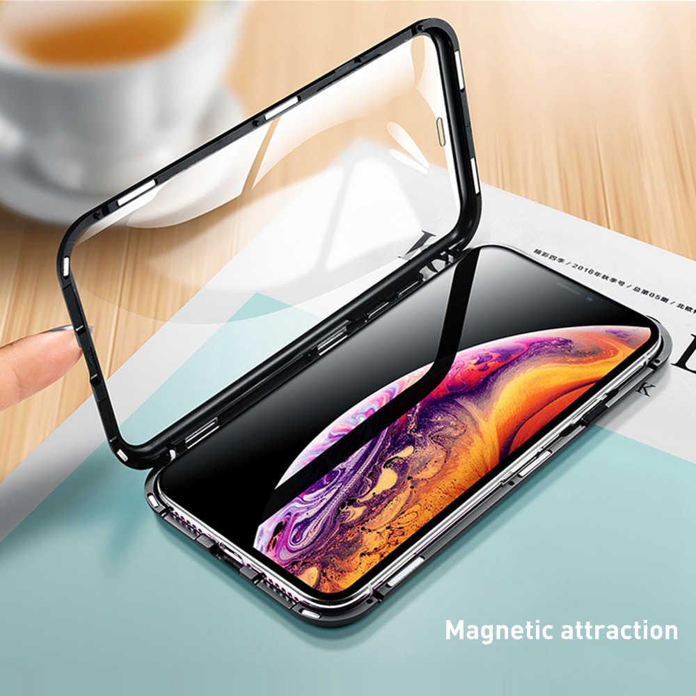 OTAO مزدوجة الوجهين الزجاج المغناطيس حقيبة لهاتف أي فون 7 8 Plus XS ماكس Xr X المعادن المغناطيسي 360 درجة غطاء كامل حقيبة لهاتف أي فون 6 Coque
