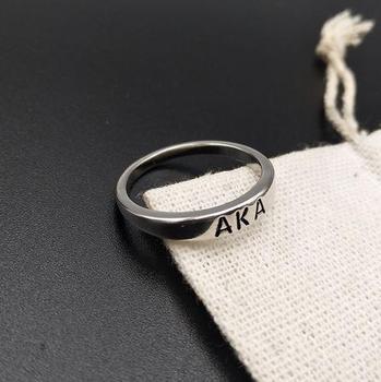 Topvekso Greece Greek Sorority custom greek AKA letter Irregular Round Finger Ring Jewelry Gift