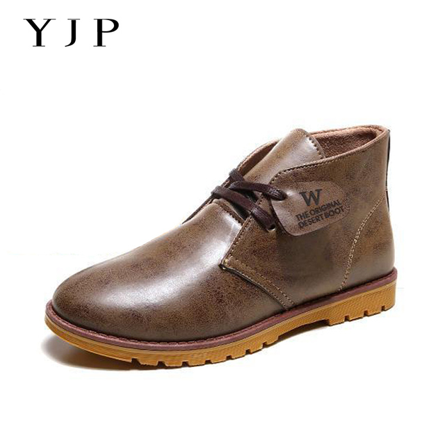 YJP Desert Boots, Classic Chukka, PU Leather Round Toe Casual Shoe, Black/Brown/Khaki Leisure Shoes, Men's Snow Warm Ankle Boots