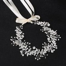 hairpins wedding headdress crystal pearl hair crown accessories  bridesmaid bridal ribbon tiara barrette H013