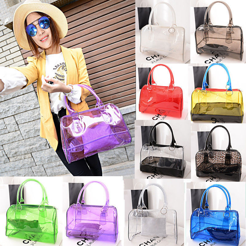Free Shipping Office Lady Jelly Clear Working Bag Sweet Woman Transpa Bucket Shoulder Pvc 2in 1 Handbag In Bags From