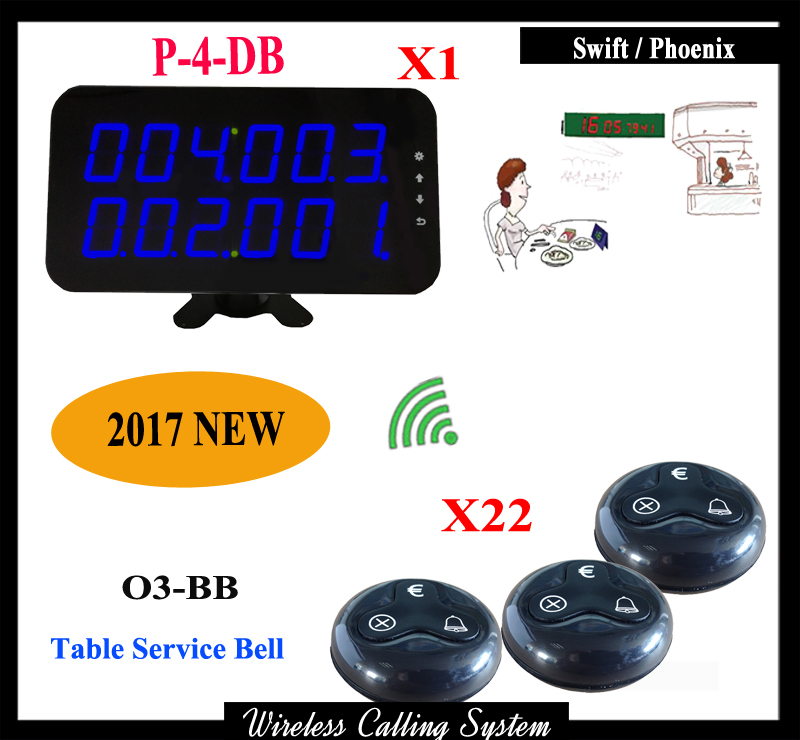 Pager Wireless Calling System Restaurant Guest Paging System 1 pcs Display Receiver+22 Table Bells Call Button Customer Service 1 watch receiver 8 call button 433mhz wireless calling paging system guest service pager restaurant equipments f3258