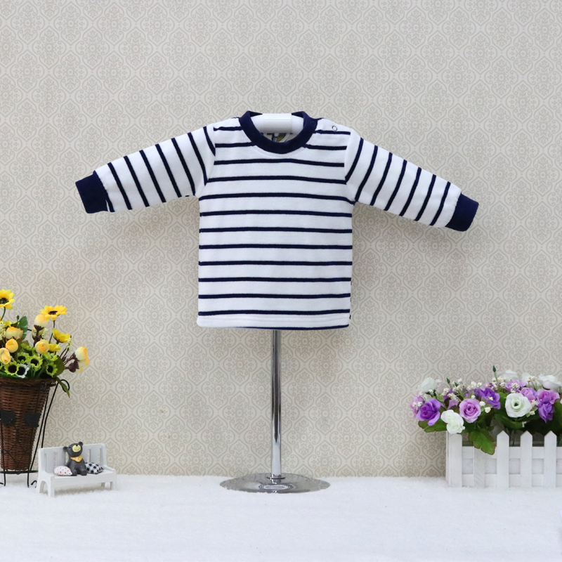 Newborn Baby Spring and Summer Velour Blouse Long Sleeve Button Shirts 2018 Little Q Striped Suits ruffled button down blouse in black
