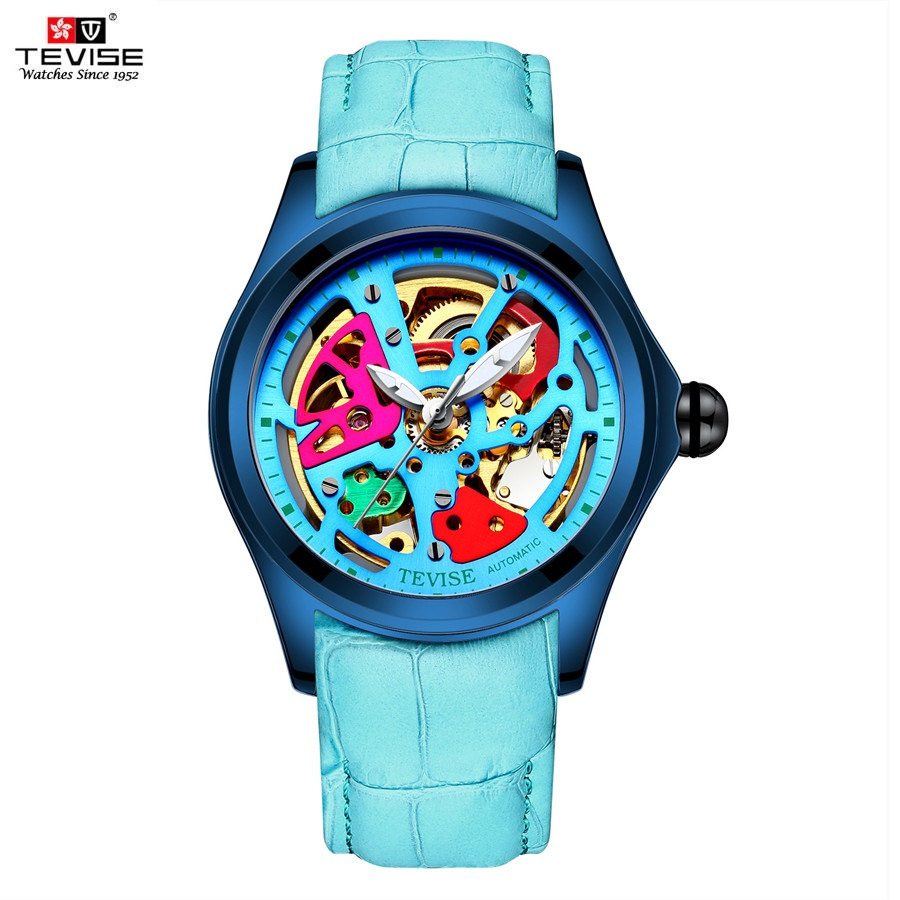 Man Watch 2018 TEVISE T832A Mechanical Watch Hollow Colorful Automatic Watch Waterproof Luminous Leather Wristwatches Male Clock