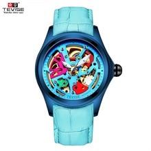 איש שעון 2020 TEVISE T832A מכאני שעון חלול צבעוני אוטומטי שעון עמיד למים זוהר עור שעוני יד זכר שעון