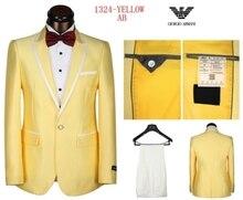 New Chegou Ouro Amarelo Homens Ternos Feitos Sob Encomenda Do Partido Do Smoking Do Noivo Baile Palco Vestido de Roupas 2 Peça Blazer jacket + Pants masculino 114