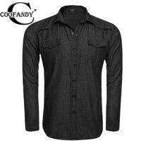 Coofandy Men Denim Shirts 2017 New Turn Down Collar Long Sleeve Casual Denim Shirts Blouses With