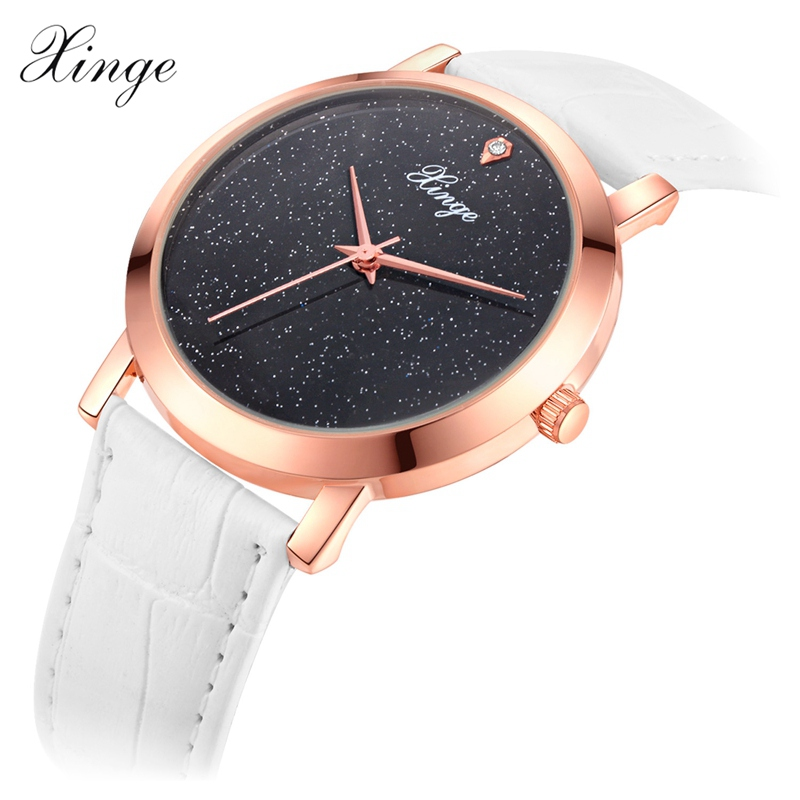 Xinge Brand Ladies Fashion Watches Women Leather Band Rose Gold Quartz Wrist Watch Women Female Sport Clock Relogio Feminino xinge brand fashion women quartz wrsit watches clock leather strap business watch ladies silver luxury female sport womens watch